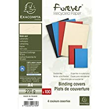 Exacompta Forever leather grain binder Covers, 270 gsm, A4 - Assorted colours (Pack of 100)