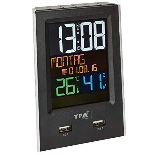 TFA Dostmann Charge-IT Funk-Wecker mit USB-Ladefunktion, Plastik, Schwarz 9 x 6 x 13 cm