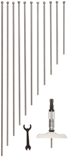 Starrett 445dz-3rl Vernier Tiefenmesser, Ratsche Stop, Kontermutter,), Typ 0–7,6cm, 0cm der Graduierung 15,2cm, Base, 3Stangen, Genauigkeit +/-0.0001