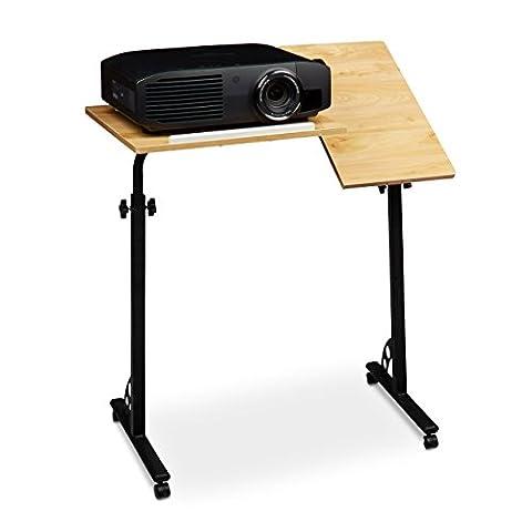 Relaxdays Laptoptisch groß höhenverstellbar H x B x T: 110 x 80 x 50 cm Mobiles Rednerpult mit Rollen zum Bremsen für Notebook mit Ablage für Beamer, große Laptops, Mäuse etc. Eiche (natur)