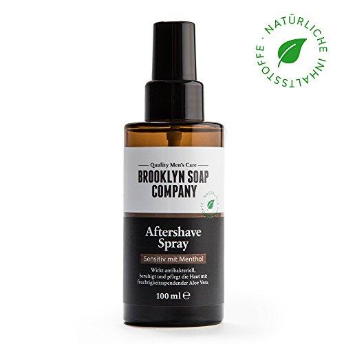 Natürliche Männerpflege: Aftershave Spray - 100ML ✔ beruhigt die Haut und wirkt antibakteriell ✔ Natürliche Pflege der BROOKLYN SOAP COMPANY ® ✔ Geschenkidee als Geschenk für Männer (Alkohol-pumpspender)