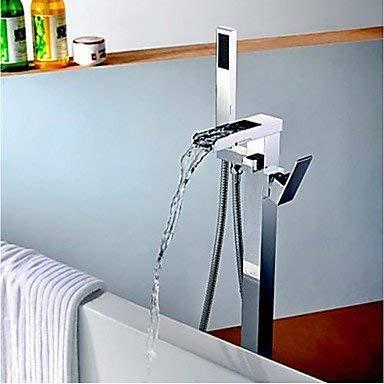 HUASHASHA Modern Art Deco/Retro Modern Bath & Shower Wasserfall mit ausziehbarer Dusche Bodenständer Keramikventil Eine Hand EIN Loch Chrom -