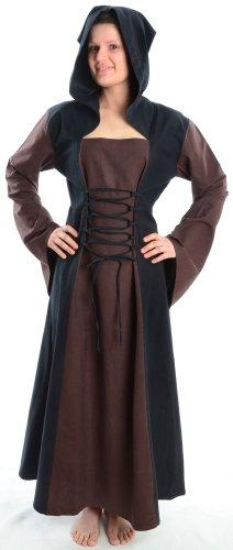 HEMAD Damen Mittelalter Kleid zum Schnüren mit Gugel weiß rot grün blau braun schwarz S - XL (L, braun)