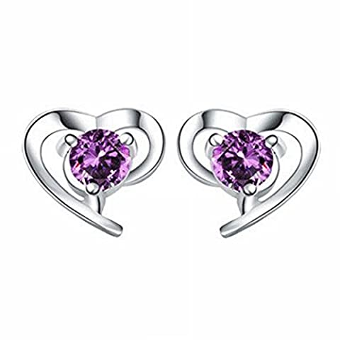 Silver Earrings Earrings Female Soft Heart-Shaped Silver-Plated Earrings Jewelry Purple Diamond / Pair Ear with Plug (White Gold Plated