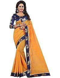 Vastrang Women's Chanderi Cotton Saree With Blouse Piece(1311HATORG_Orange_Free Size)