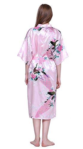 HonourSport Damen Morgenmantel Satin langer Kimono Bademantel Nachtwäsche mit Pfau und Blume Rosa