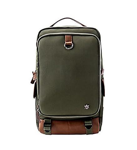 rigide sur toile décontracté au quotidien pour ordinateur portable de stockage de sac à dos kaki