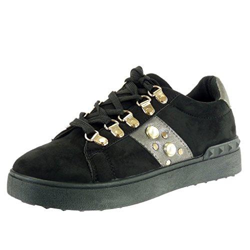 Angkorly - Damen Schuhe Sneaker Keilabsatz - Low - Perle - Nieten - Besetzt  - golden 7ee1cf99ea