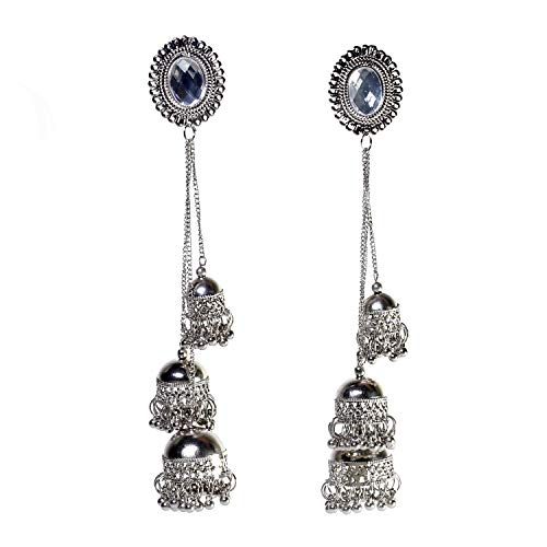 prasi style Afghani Kashmiri Tribal Oxidised Alloy Earrings for Women