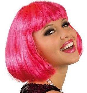 PINK Perücke Bob Cabaret Bobschnitt kurzhaar Charleston glattes Haar Karneval Silvester Verkleiden Köstüm Rosa Punk