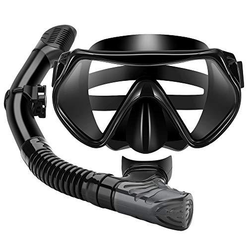 REFURBISHHOUSE Gafas de Snorkel Conjunto de Tubo Máscara de Buceo para Adultos Mascara de Snorkel Gafas de Protección Gafas de Natación Fácil Respiración Snorkel Seco (Negro)