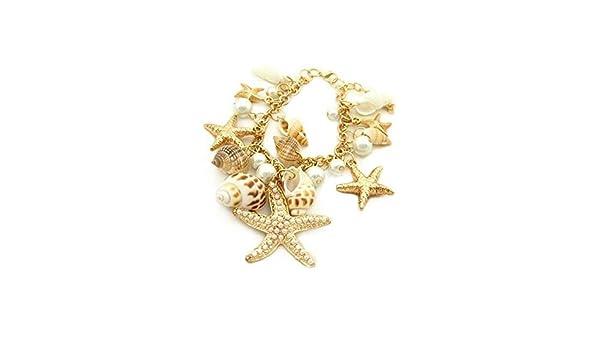 Ocean Style Starfish Sea Star Conch Shell Chain Bracelet AD