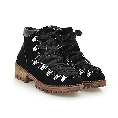 JUTOO Frauen Freizeit Low-Heel Schuh Plattform Solid Color Scrub Kurzrohr Schwarz Stiefel(Schwarz,37 EU)