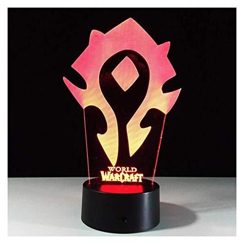 LINA Illusion 3D Veilleuses, World Warcraft Moderne LED Table Lampes de Bureau 7 Couleurs Changement de Commutateur Tactile USB Charge D'éclairage Chambre Maison Lampe Décorative