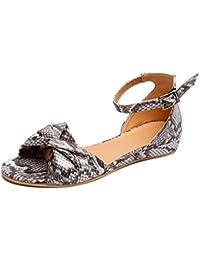 ae27f138f2d Minetom Femme Poissons Bouche Sandales Chaussures De Plage Plate Été Mode  Nœud Papillon Bowknot Boucle Espadrilles