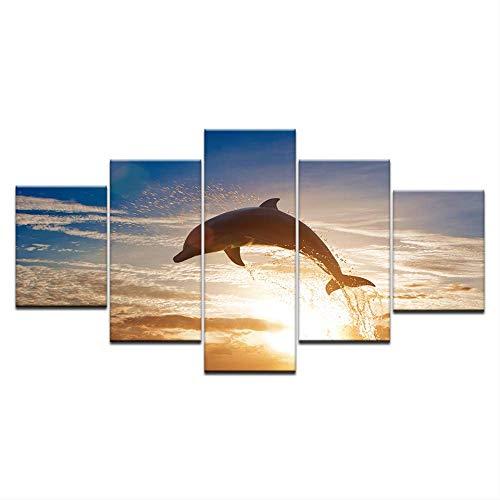 DGGDVP Hd gedruckt modulare Bilder leinwand Home wandkunst dekor 5 stücke springen Delfine Tier malerei Sonnenuntergang Seascape Poster größe 2 mit Rahmen