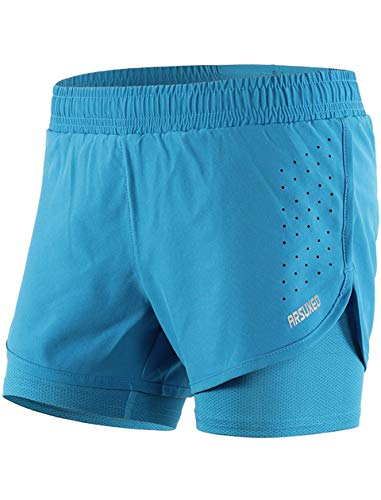 Lakaka Damen 2 in 1 Shorts Laufshorts Kurze Tights Trainingsshorts Innerer Kompressionsshorts Running Hosen