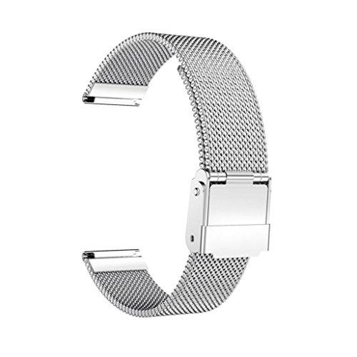 Preisvergleich Produktbild Sansee Edelstahl solide Drahtgeflecht mit magnetischen Verriegelungshaken Magnetschleife Edelstahl Smart Watch Band für Daniel Wellington Classic Petite 32MM (Silber)