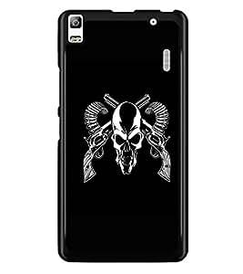 PrintDhaba Skull D-1187 Back Case Cover for LENOVO A7000 TURBO (Multi-Coloured)