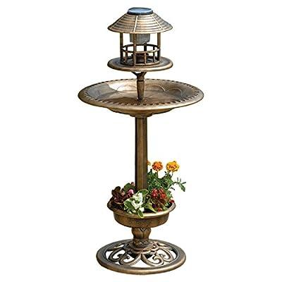 Solar Bird Hotel Garden Birds Feeder & Bath With Light Ornamental Table Station from Elitezotec®