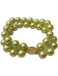 Schmuckwilly Muschelkernperlen Perlenarmband Perlen - Muschelkernperlen Armband 2-reihig leicht grün Hochwertige mb0046