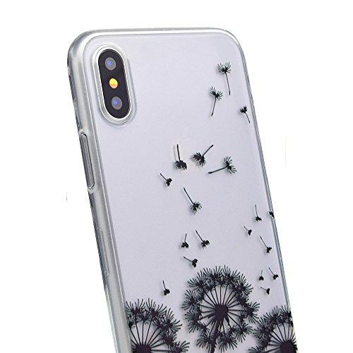 inShang iPhone X 5.8inch custodia cover del cellulare, Anti Slip, ultra sottile e leggero, custodia morbido realizzata in materiale del TPU, frosted shell , conveniente cell phone case per iPhone X 5. dandelion