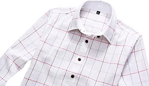 DD UP Herren Baumwolle Slim Business Plaid Okoberfest Kariert Langarm Hemden Shirts White