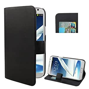Pure Color Leather Case with Holder & Credit Card slots for Samsung Galaxy Note 2 N7100 (Black)