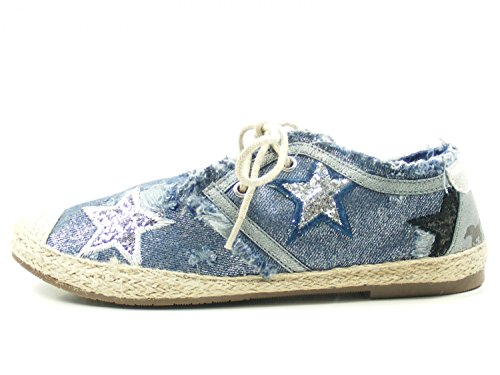 Mustang Damen Schnür-Espadrilles Blau/Silber, Schuhgröße:EUR 39