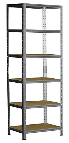 Shelf Creations Basic Schwerlastregal verzinkt 180 x 60 x 45 cm mit 6 Böden Stecksystem aus Metall verzinkt: Metallregal geeignet als Kellerregal, Lagerregal, Archivregal, Ordnerregal, Werkstattregal -