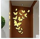 Jedfild Wandaufkleber Spiegel Schmetterling 3D Acryl Wandaufkleber Kinderzimmer Schlafzimmer Bettsofa im Wohnzimmer TV-Wand Selbstklebend Home Einrichtung, die glänzende Kingdee