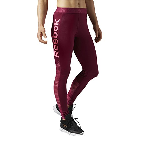 Reebok Wor Show Mesh Logo Collant, Rosso, 2XS