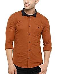 SHOWOFF Men's Knited Full Sleeve Slim Fit Solid Casual Shirt (TokyoKnits2474_Tan)