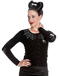 HELL BUNNY Ladies SPIDER WEB Cardigan Top Black Goth Halloween All Sizes