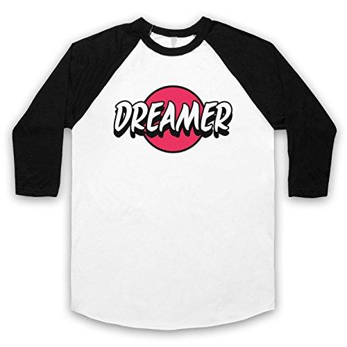 Dreamer Hipster 3/4 Hulse Retro Baseball T-Shirt Weis & Schwarz