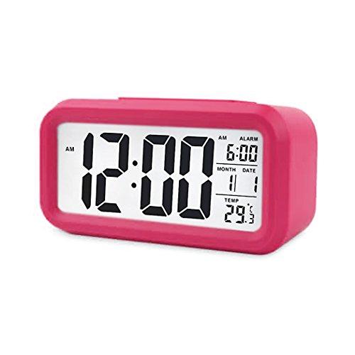 JUYUAN-EU Digital NachtSensor Wecker LED Snooze Taste Alarm Clock - Beleuchtung Reisewecker Licht aktivierten Sensor-Hintergrundbeleuchtung Rose (- Sensor-licht-alarm)
