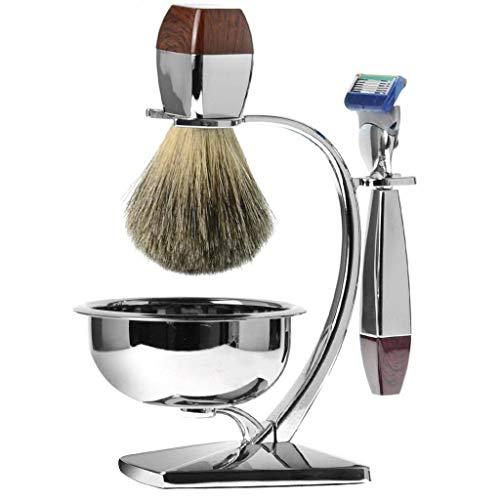 Luxus-Rasierset Für Männer, Chromrasierer Und Pinselständer Mit Seifenschale Und Dachshaar-Rasierpinsel Und Rasierapparat, Allergie-Rasierseife
