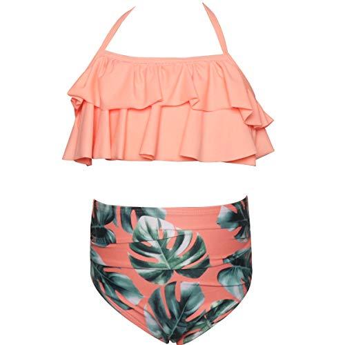 Baby Mädchen Gekräuselt Bikini Badeanzug Kostüm für die Familie Mutter Mädchen Badebekleidung 2 Stück,Aspicture,4~5T