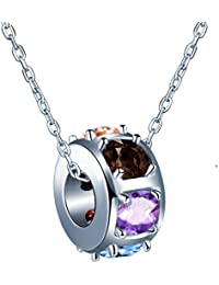 sixluo Colorful Crystal Slide bola cadena de plata de ley 925Círculo aro collar colgante hecho con SWAROVSKI ELEMENT mejor regalo para las niñas
