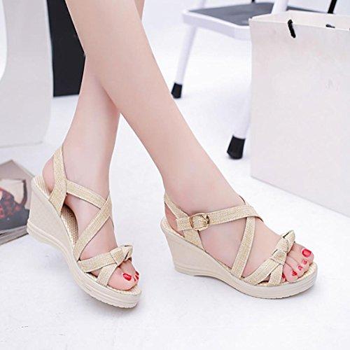 Transer® Damen Sandalen Keilabsatz Leinen+Kunststoff Knoten Beige Grün Sandalen (Bitte achten Sie auf die Größentabelle. Bitte eine Nummer größer bestellen) Beige