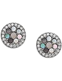 Fossil Women's JF02310040 Pull Through Earrings Stainless Steel Zirconia White