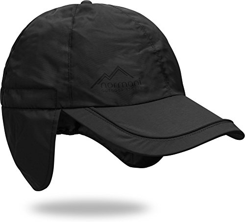 normani Regenmütze Cap verstellbar mit Ohrenschutz 100{0057af7ebd844a5a6e5faadbbbb7bdeb15de324d4e90bdb6ea0c52f51c69a661} Wasserdicht [S-3XL] Farbe Schwarz Größe XL/61