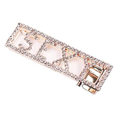 Kuangkk Haarspange für Damen, minimalistisch, rechteckig, mit lustigem Buchstaben, luxuriöser Glitzer-Strass-Steinchen, Entenschnabel (Dreads Haarspangen Für)