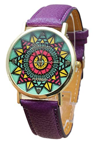 Custom Gürtel-schnalle (Actim Folk-Custom PU-Gürtel Uhren Mode Schnalle Quarz Spiralkrone Glasspiegel Uhren - Männlich und Weiblich, Purple)