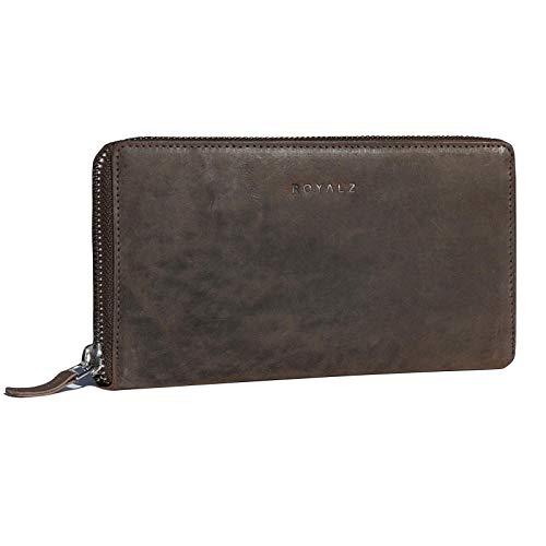 ROYALZ Vintage Portemonnaie Damen Groß mit Reißverschluss Büffel-Leder RFID Schnutz Frauen Geldbörse Querformat, Farbe:Montana Braun