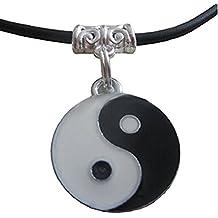 Collar con colgante con diseño del símbolo tao del ying y el yang, con cordón negro, para regalo, para chico, chica, hombre, mujer, unisex