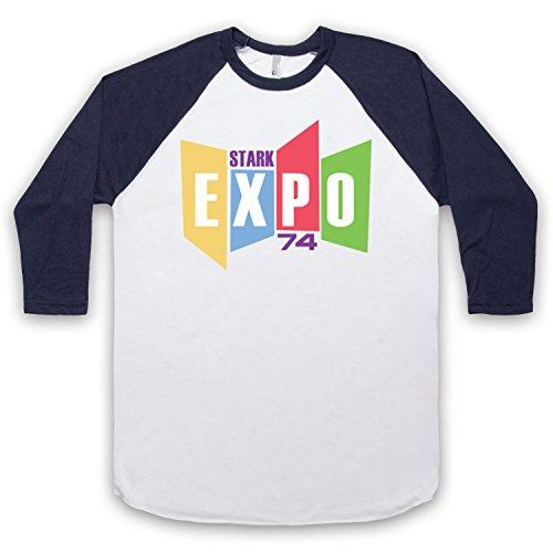 Inspiriert durch Iron Man 2 Stark Expo Unofficial 3/4 Hulse Retro Baseball T-Shirt Weis & Ultramarinblau