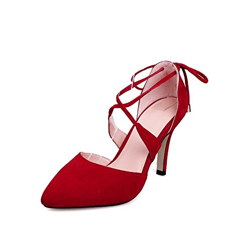 Adee Femme cross-body-strap High-Heels givré Pompes Chaussures Rouge - rouge