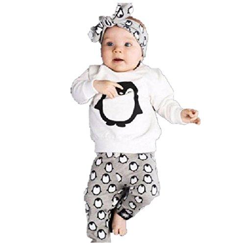 Baby kinder Junge Mädchen Mode Pinguin design Set Langarm T Shirt + Hose Baumwolle Langarm Tops Kinderbekleidung Outfits Set ()