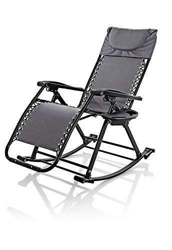 W Schaukelstuhl Liegestuhl und Gartenliege in einem | verstellbar und klappbar | für Garten Terrasse Balkon Pool Camping | mit Getränkehalter und Kopfstütze